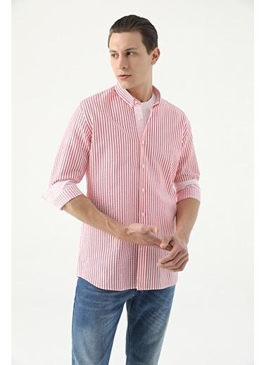 Tween Slim Fit Çizgili Loafer Gömlek Kırmızı